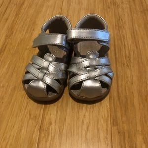 See Kai Run Silver Sandals with Velcro Closure,5.5